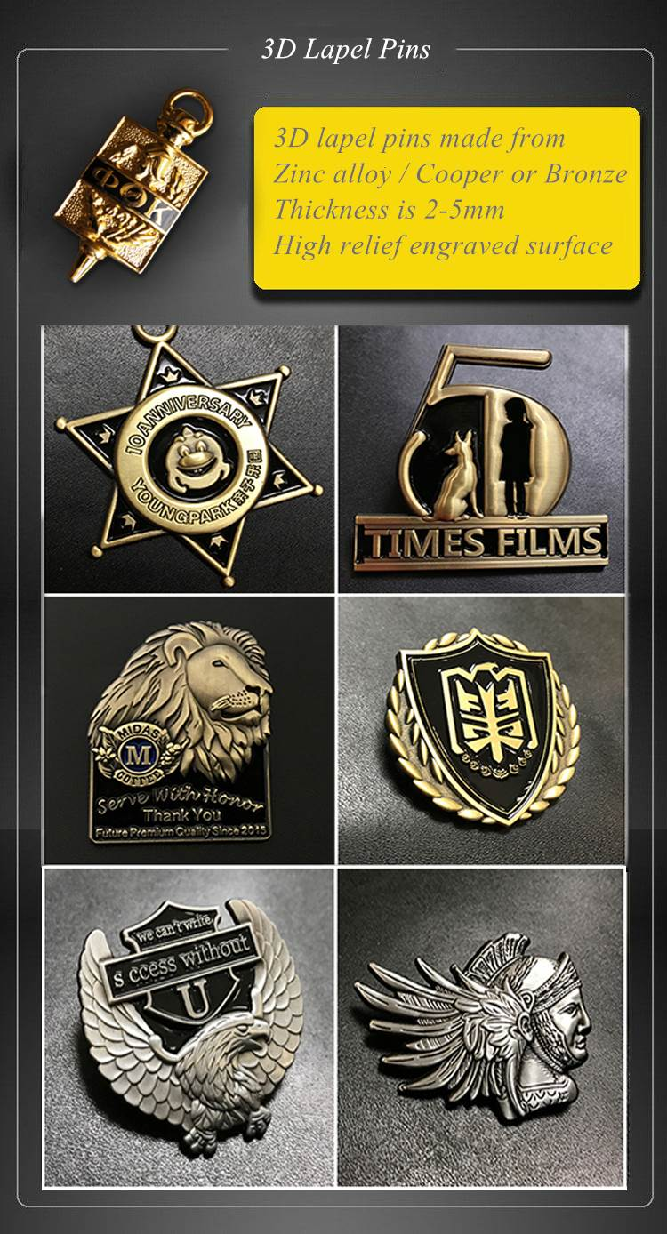 3D Lapel pins samples