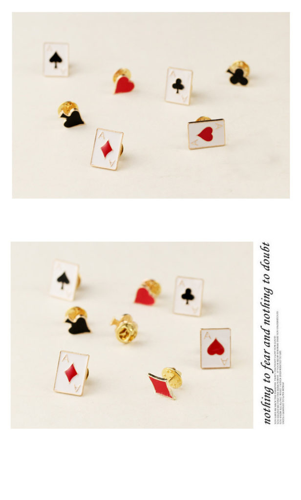 Poker card lapel pins