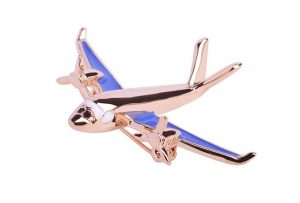 Blue color unique airplane brooch pin