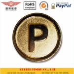 Round P Sandblast Gold Pin