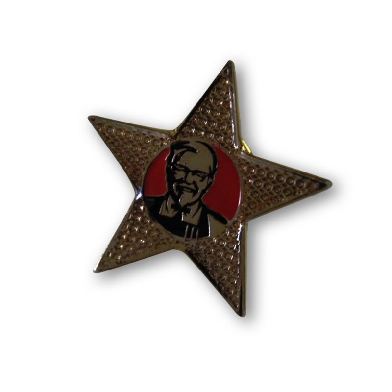 KFC star pins with soft enamel pins and epoxy dome