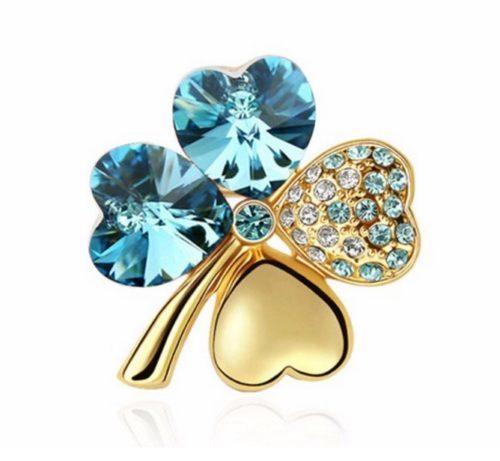 clover lucky crystal pin
