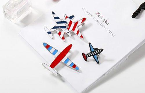 Soft enamel airplane pins