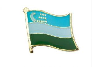 Uzbekistan enamel flag pins