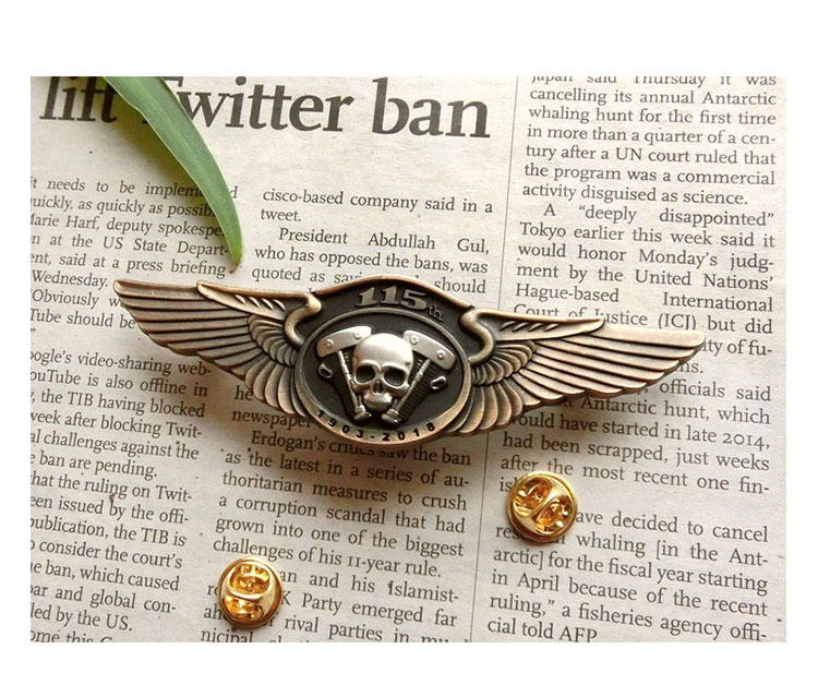 Haley classic wings engine mount cap badge