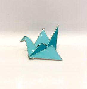 Silver Origami Paper Crane Enamel Lapel Pins