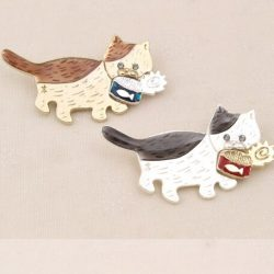 Cat And Fish Love Pins
