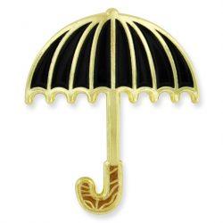 Black umbrella enamel pins