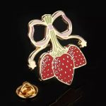 Strawberry enamel pins