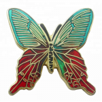 Two-color butterfly enamel pins